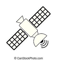 Communication satellite technology isolated black and white