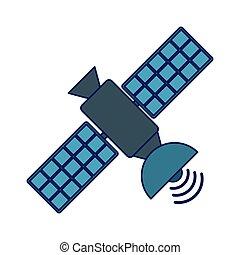 Communication satellite technology isolated blue lines