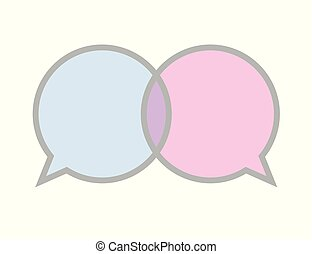 communication sign icon blue and pink speech bubble symbol