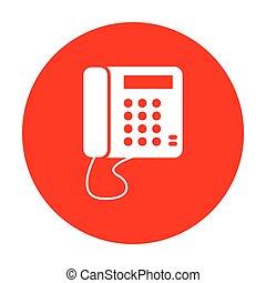 communication, signe., circle., téléphone, blanc, ou, rouges, icône