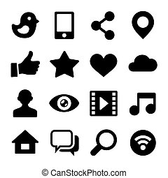 Communication Social Network Icons Set for Web. Vector