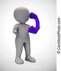 communication, soutien, -, téléphone, illustration, appeler,...