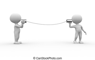 Communication - 3d people - men, person talking on a...
