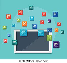 communication, tablette, icônes