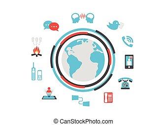 communication, technologie, isolé