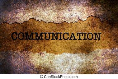Communication text on grunge background