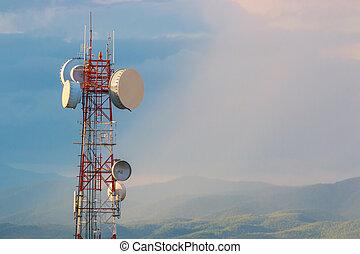 communication, tour téléphone, à, coucher soleil