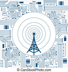 Electronics circuit background with a communication tower in the center