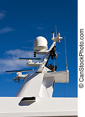 Communication tower on yacht.