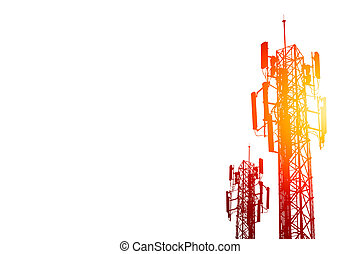 communication tower or 3G 4G network telephone cellsite isolated on white with color effect.