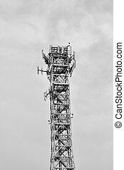 Communication tower radio mast with antenna aerial
