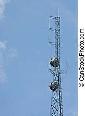 Communication Tower with Dishes