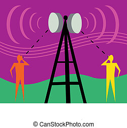 Communication tower with human figures and signals