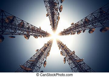 Communication towers. - Five tall telecommunication towers...