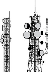 Communication Towers vector - Vector silhouettes of two...