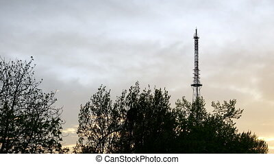 Communication TV tower timelapse