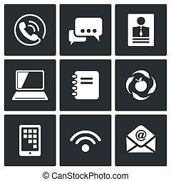 communication, vecteur, ensemble, icônes