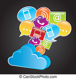 communication signs with cloud over black background. vector