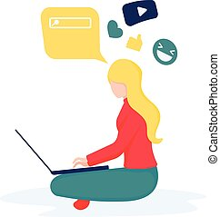 Communication via the Internet, social networking, chat, video, news, search, web graphics, messages, web site
