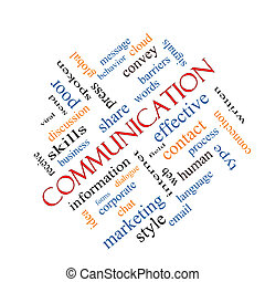 Communication Word Cloud Concept Angled - Communication Word...