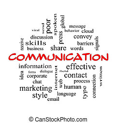 Communication Word Cloud Concept in red caps