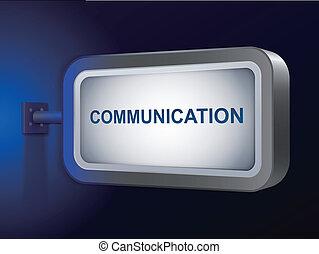 communication word on billboard