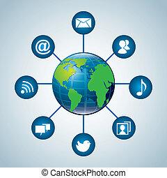 communication world over blue background vector illustration...
