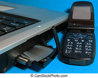 Communications - An internet card in its computer slot and a...