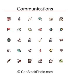 Communications Colored Line Icons - Social and ...