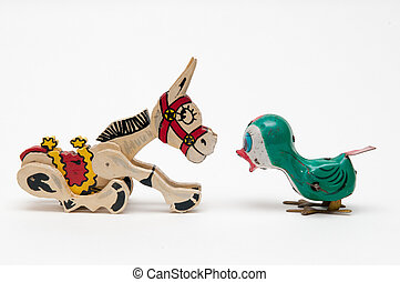 communications concept with vintage toys