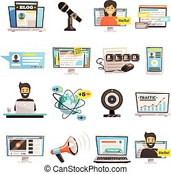 communications, ensemble, blogosphere, icône