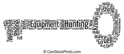 Communications Equipment in the Wilderness text background word cloud concept