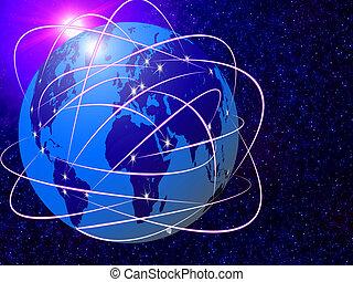 communications, global, technologie, internet