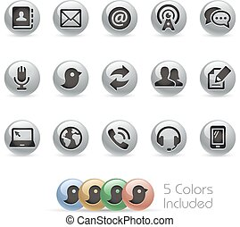Communications Icons - Metal Round - The file includes 5 ...