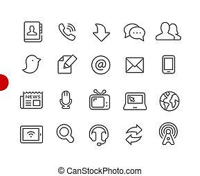 Communications Icons // Red Point Series
