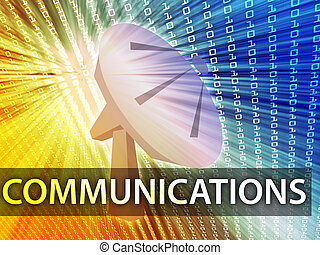 Communications illustration digital collage with satellite dish