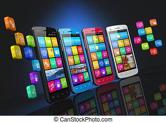 communications mobiles, et, social, gestion réseau, concept