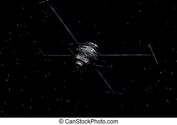 Communications Satellite - Communications satellite rotating...