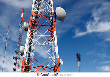 Communications - Several kind of communication antennas and...