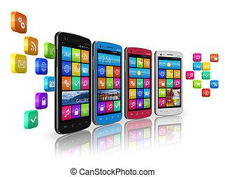 communications, social, gestion réseau, concept, mobile