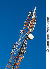 Communications tower with antennas