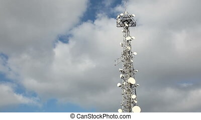 Communications Tower With Clouds Time Lapse, shoot Canon 5D...