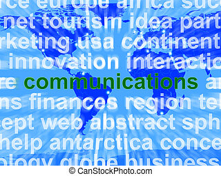 Communications Word On Map Showing Global Networking