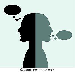 communication.talk, teste, lontano, girato, pensare, altro, ciascuno, concept.