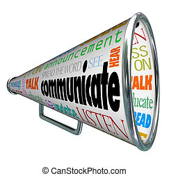 communiceren, bullhorn, megafoon, propageren, de, woord
