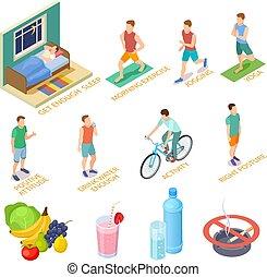 communie, activiteiten, isometric, goed, levensstijl, gezonde , concept., dieet, controleren, vector, gewoonten, oefeningen, sportende, nutrition., medisch, regelmatig