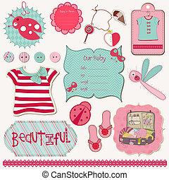 communie, bewerken, -, ontwerp, gemakkelijk, baby, plakboek