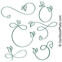 communie, blad, iconen, vegan, calligraphic, ontwerper, groene achtergrond, set, witte
