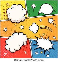 communie, bubbles., vector, toespraak, retro, ontwerp, komisch boek