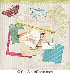 communie, butteflies, -, vector, ontwerp, ouderwetse , plakboek, bloemen